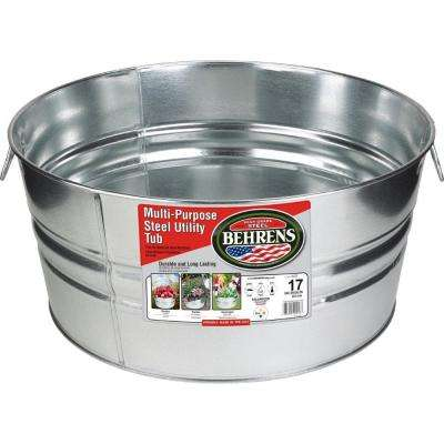 17 Gal. Galvanized Steel Round Tub