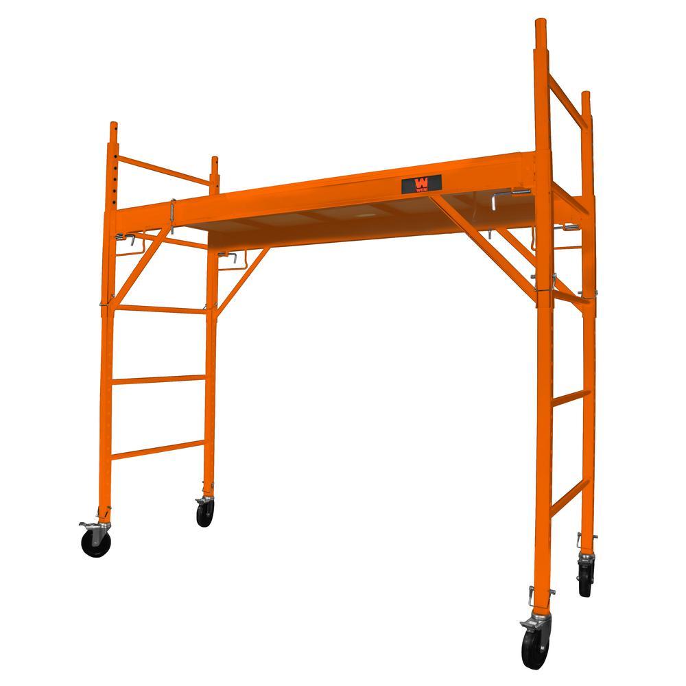 Baker-Style 6.25 ft. x 2.5 ft. x 6.25 ft. Multi-Purpose Rolling Steel Scaffold 1000 lbs. Load Capacity