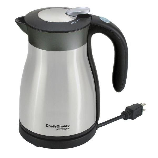 6-Cup Black Stainless Steel Electric Kettle with Automatic Shut-Off