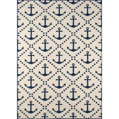 Baja Anchors Ivory 3 ft. 11 in. x 5 ft. 7 in. Indoor/Outdoor Area Rug