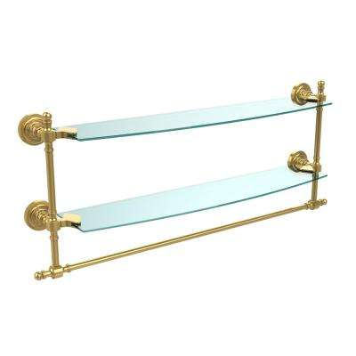 Retro Dot Collection 24 in. Two Tiered Glass Shelf with Integrated Towel Bar in Polished Brass