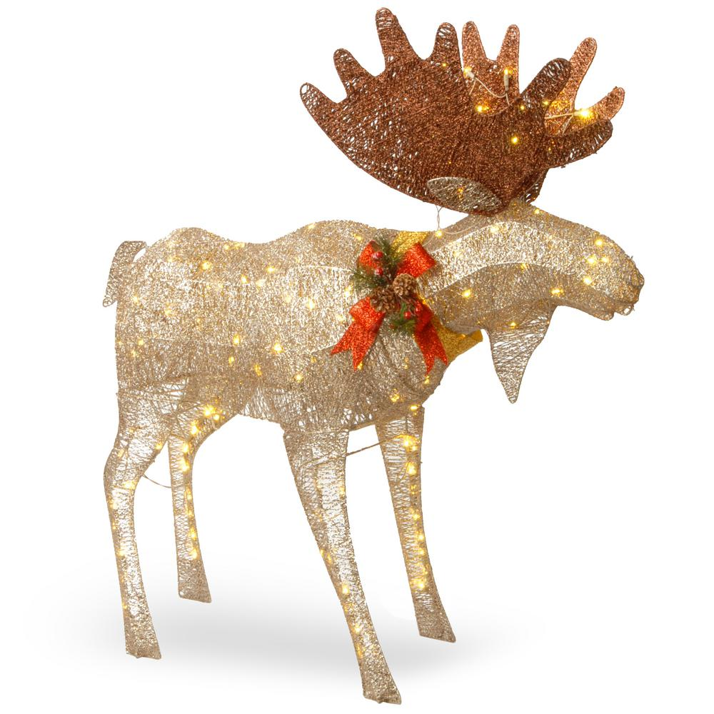 moose decoration with white led lights