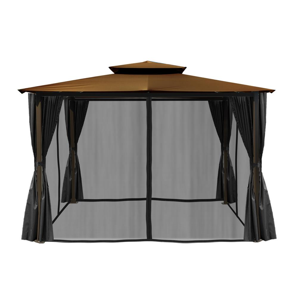 Paragon Outdoor Paragon 10 Ft X 12 Ft Gazebo With Cocoa Top And Privacy Curtains And Mosquito Netting Gz584eck2 The Home Depot