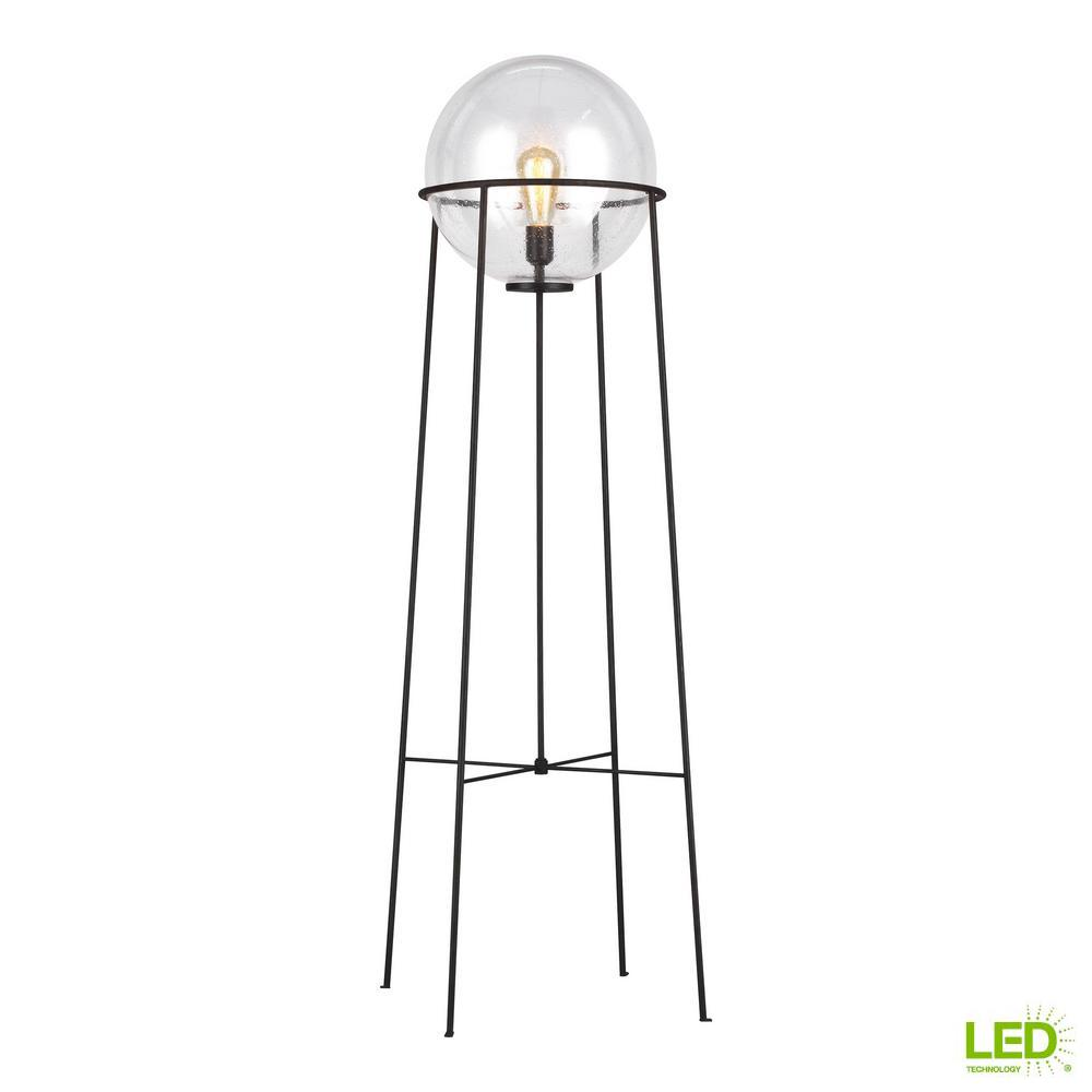 Generation Lighting Designer Collections ED Ellen DeGeneres Crafted by Generation Lighting Atlas 52.5 in. Aged Iron Floor Lamp with Clear Seeded Glass Orb Shade