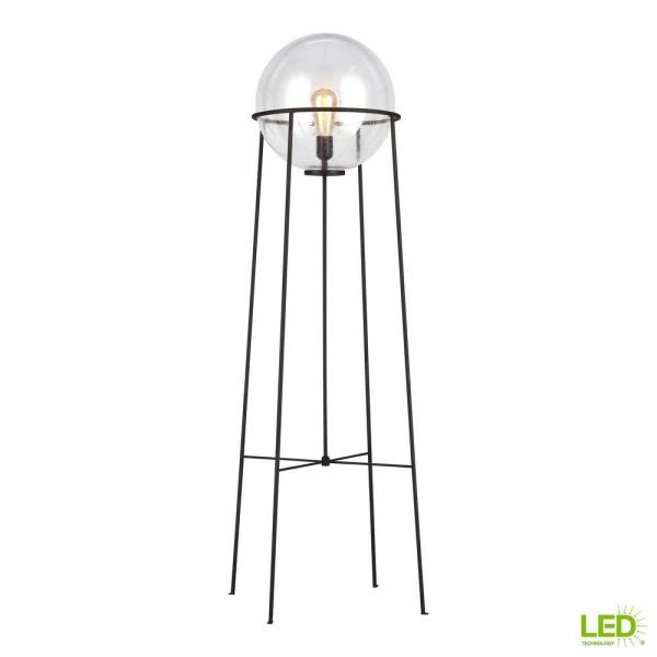 ED Ellen DeGeneres Crafted by Generation Lighting Atlas 52.5 in. Aged Iron Floor Lamp with Clear Seeded Glass Orb Shade