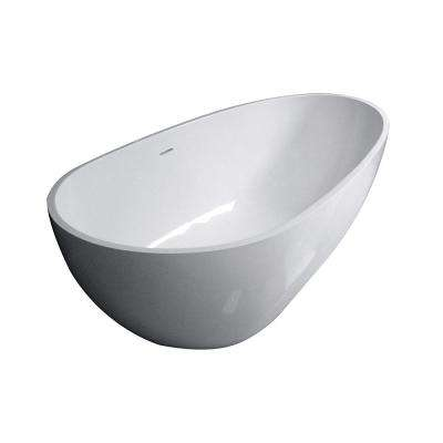 Sophia 67 in. Solid Surface Flatbottom Freestanding Bathtub in White
