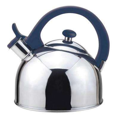 Acacia 2 Qt. Stainless Steel Stovetop Tea Kettle with Whistle in Blue