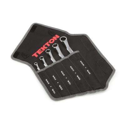 1/4-13/16 in. 45° Offset Box End Wrench Set with Pouch (5-Piece)