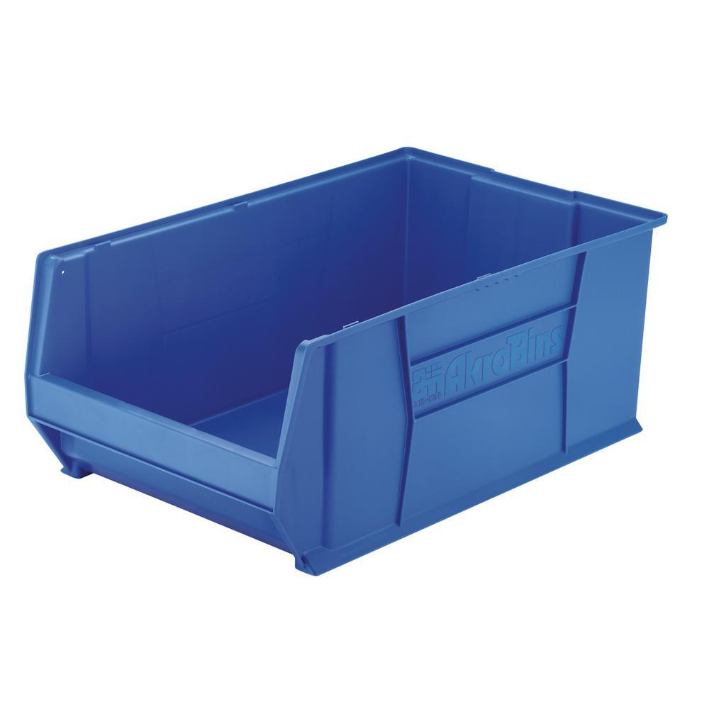 Akro-Mils Super-Size AkroBin 18.3 in. 300 lbs. Storage Tote Bin in Blue with 22 Gal. Storage Capacity