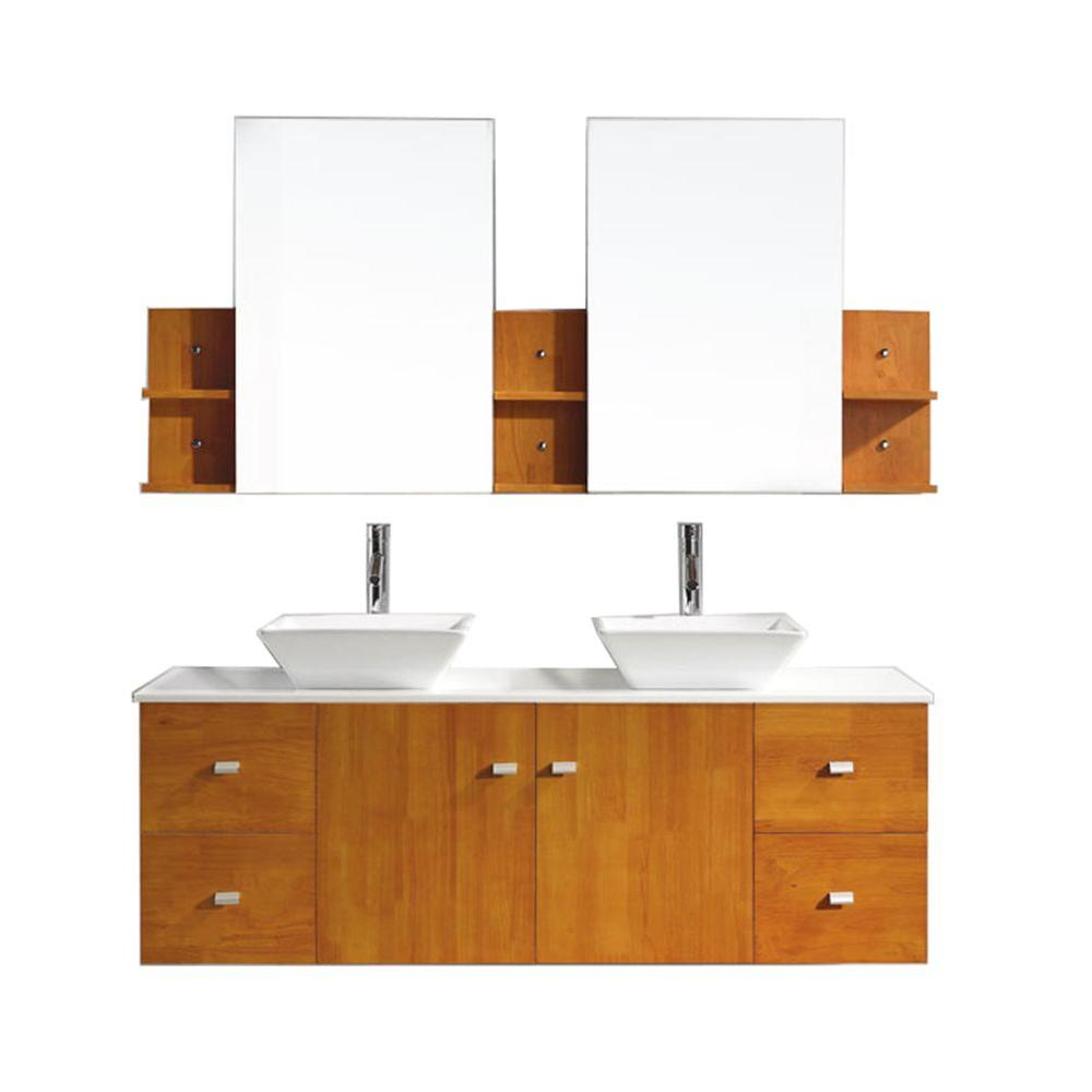 Virtu USA Clarissa 60 in. W Bath Vanity in Honey Oak with Stone Vanity Top in White with Square Basin and Mirror and Faucet