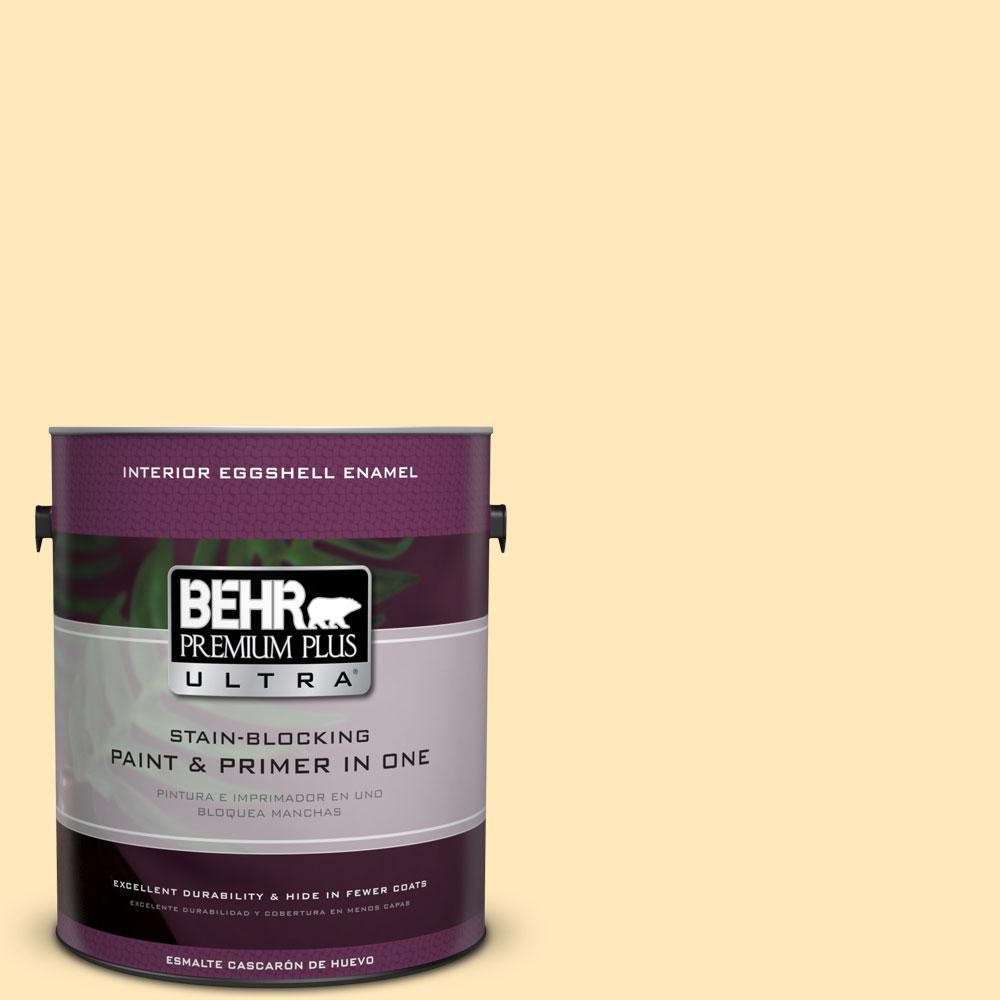 1 gal. #PPL-69 Sunkissed Yellow Eggshell Enamel Interior Paint and Primer
