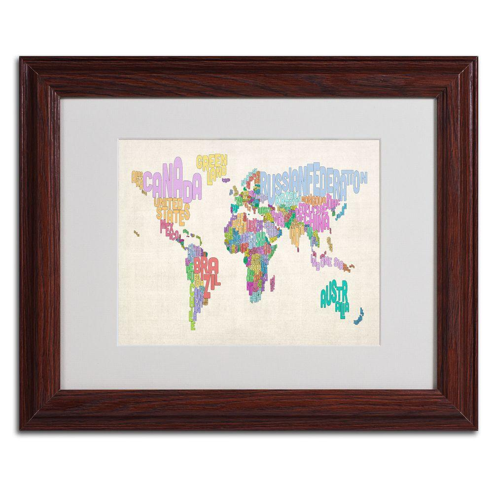 null 11 in. x 14 in. World Text Map 5 Matted Framed Art