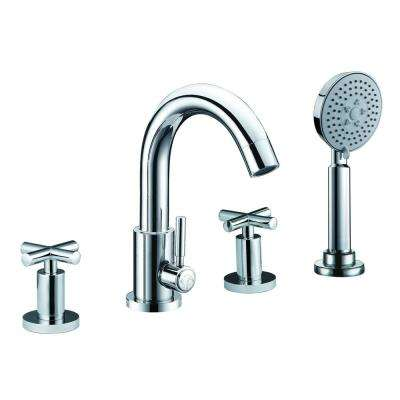 2-Handle Deck Mount Roman Tub Faucet in Polished Chrome