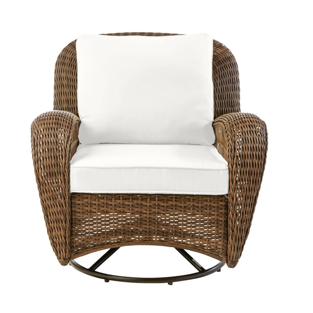 Hampton Bay Beacon Park Brown Wicker Outdoor Patio Swivel Lounge Chair with CushionGuard Chalk White Cushions was $349.0 now $272.22 (22.0% off)