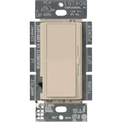 Diva C.L Dimmer for Dimmable LED, Halogen and Incandescent Bulbs, Single-Pole or 3-Way, Taupe