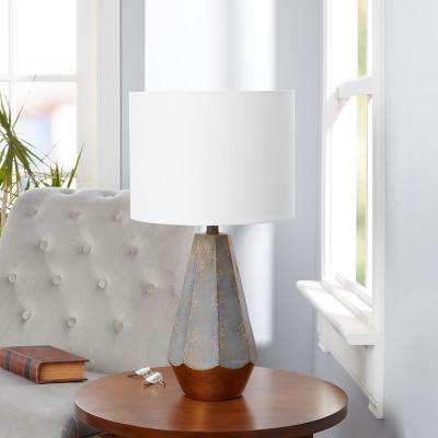 Rustic Prism 25 in. Slate Gray Table Lamp with Linen Shade