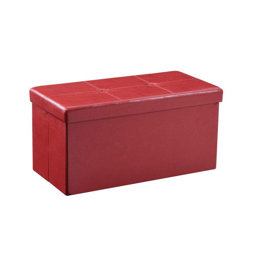 Hodedah Double, Foldable, Faux Leather, Storage Red Ottoman