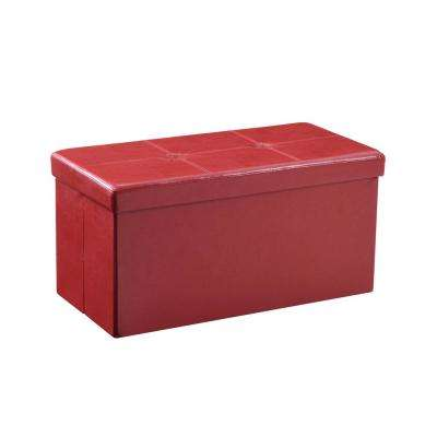 Double, Foldable, Faux Leather, Storage Red Ottoman