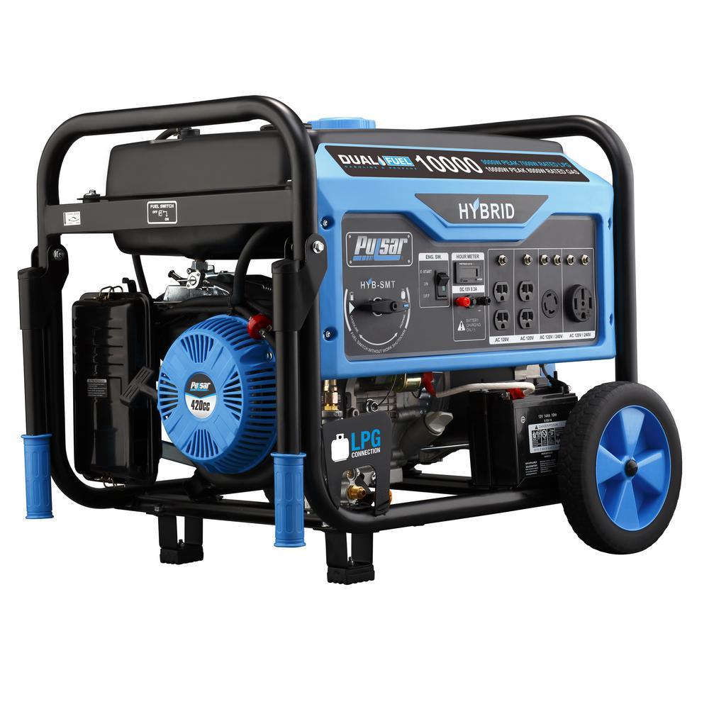 Pulsar 10,000/8,000-Watt Dual Fuel Gasoline/Propane Powered Electric/Recoil Start Portable Generator with 420 cc Ducar Engine
