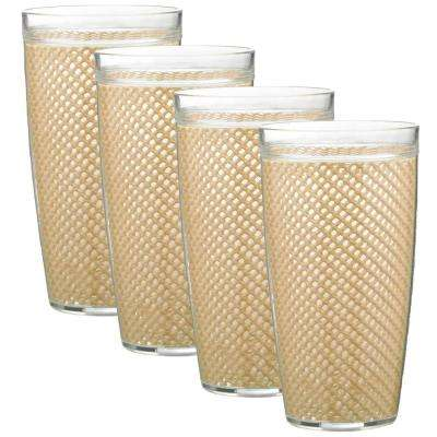 Fishnet 24 oz. Tan Insulated Drinkware (Set of 4)