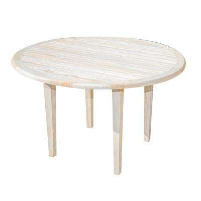 Oasis 48 in. D Driftwood and Solid Teak Indoor Outdoor Round Dining Table
