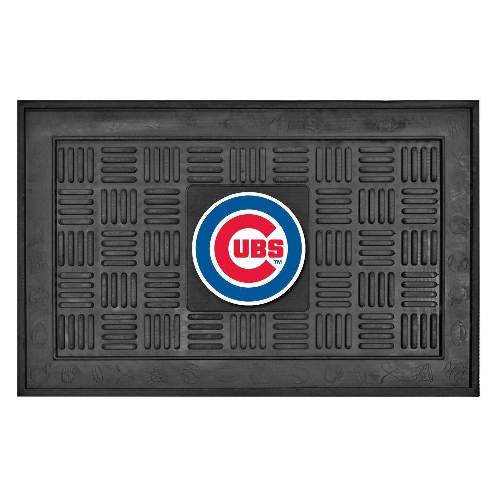 MLB Chicago Cubs Black 19 in. x 30 in. Vinyl Indoor/Outdoor Door Mat