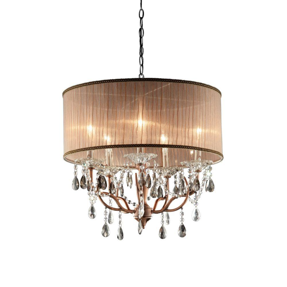 Ok lighting 5 light antique brass rosie crystal ceiling lamp ok 5126h the home depot - Chandelier ceiling lamp ...