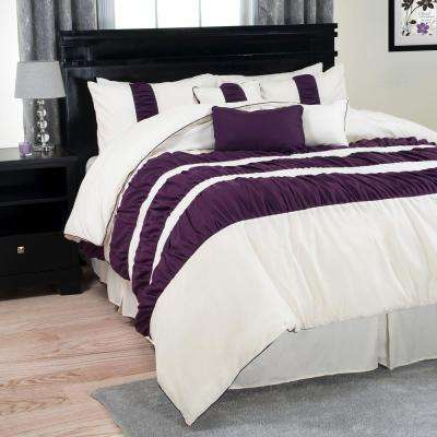 Prisca Royal 7-Piece Purple Striped King Comforter Set