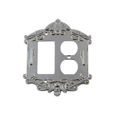 Victorian Switch Plate with Rocker and Outlet in Bright Chrome