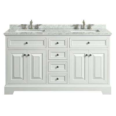 Monroe 60 in. W x 22 in. D x 34 in. H Vanity in White with Carrera Marble Vanity Top in White with White Double Basin