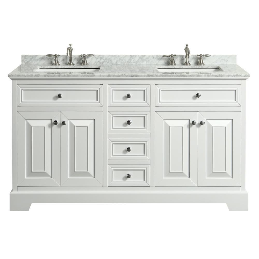 Monroe 60 in. W x 22 in. D x 34 in. H Vanity in White with Carrera Marble Vanity Top in White with White Double Basin