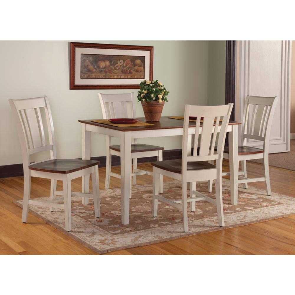 International Concepts Antique Almond And Espresso Skirted Dining Table