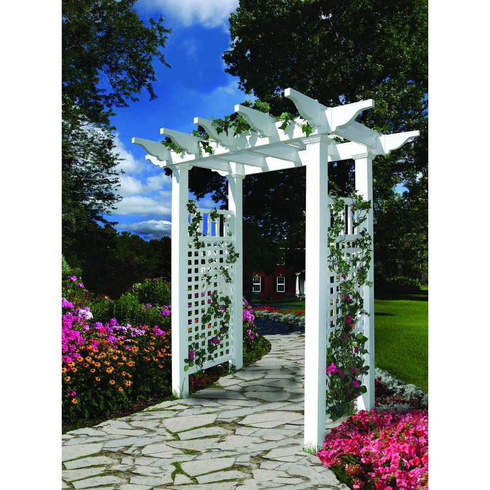 New England Arbors Fairfield 50 in. x 86.5 in. Vinyl Arbor