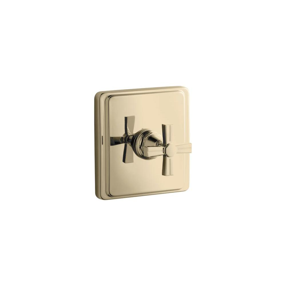 KOHLER Pinstripe 1-Handle Thermostatic Valve Trim Kit in Vibrant French Gold with Cross Handle (Valve Not Included)