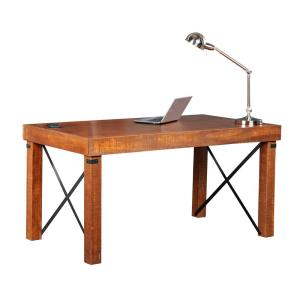 60 in. Rectangular Hewn Pallet Writing Desk with Solid Wood Material