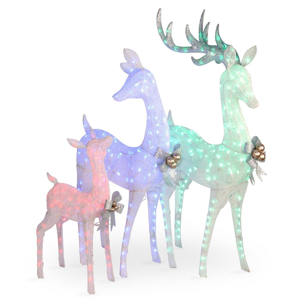 60 in., 52 in. and 35 in. Glittered Deer- family of