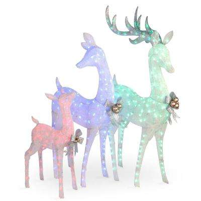 60 in., 52 in. and 35 in. Glittered Deer- family of 3 with 340 Multi-Color LED Lights