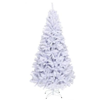 6 ft. Snow White Unlit Hinged Artificial Christmas Tree with Metal Stand