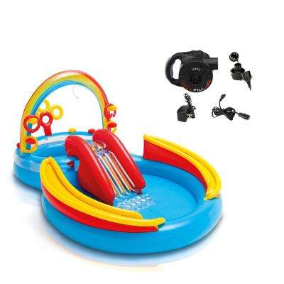 117 in. x 76 in. x 10 in. D Oval Inflatable Kiddie Pool Rainbow Ring Play Center with Slide and Quick Fill Air Pump