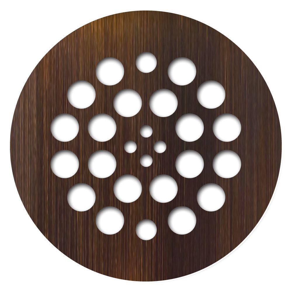 Redi Drain Tile Redi 4.25 in. x 4.25 in. Round Drain Plate in Oil Rubbed Bronze