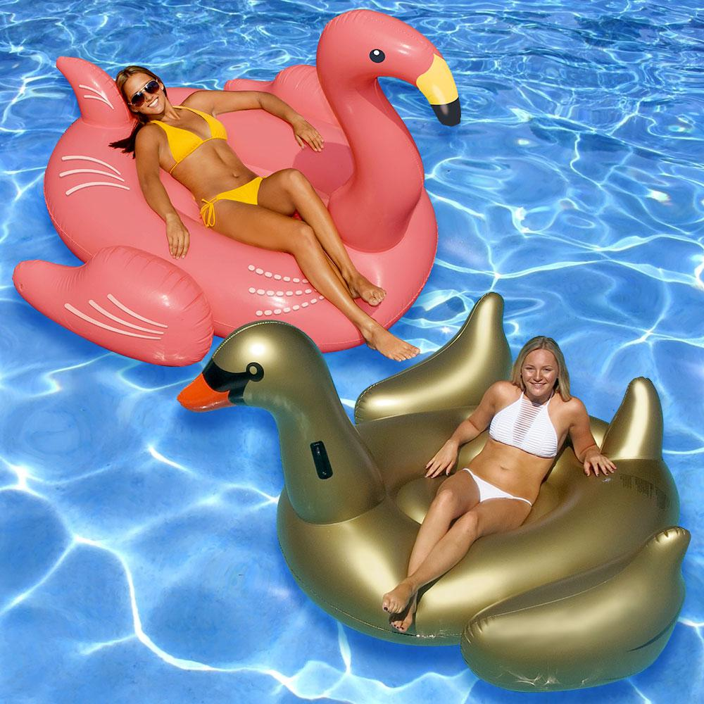 Swimline Giant Golden Goose and Flamingo Swimming Pool Fl...