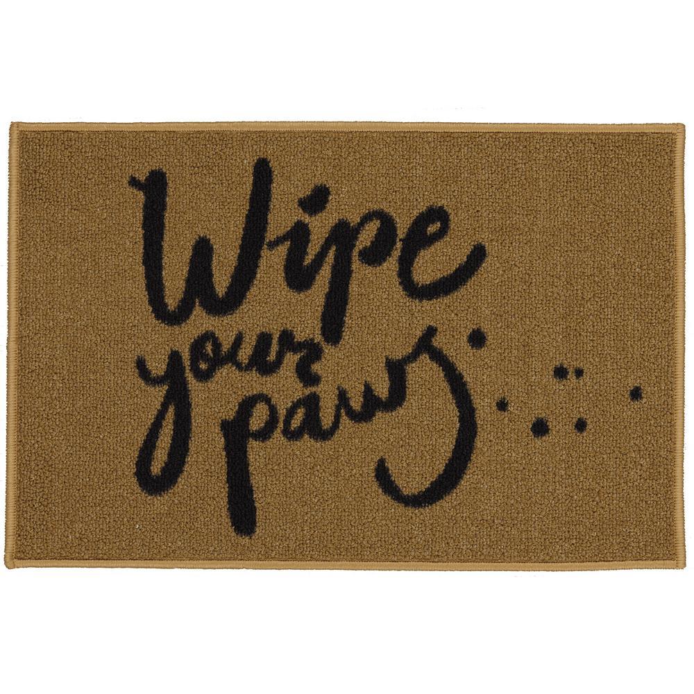 Doormat Collection Rectangular Beige Wipe Your Paw 20 in. x 30 in. Door Mat