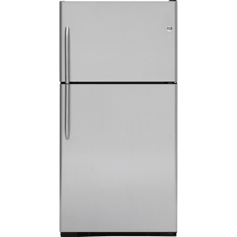 GE 21.7 cu. ft. Top Freezer Refrigerator in Stainless Steel