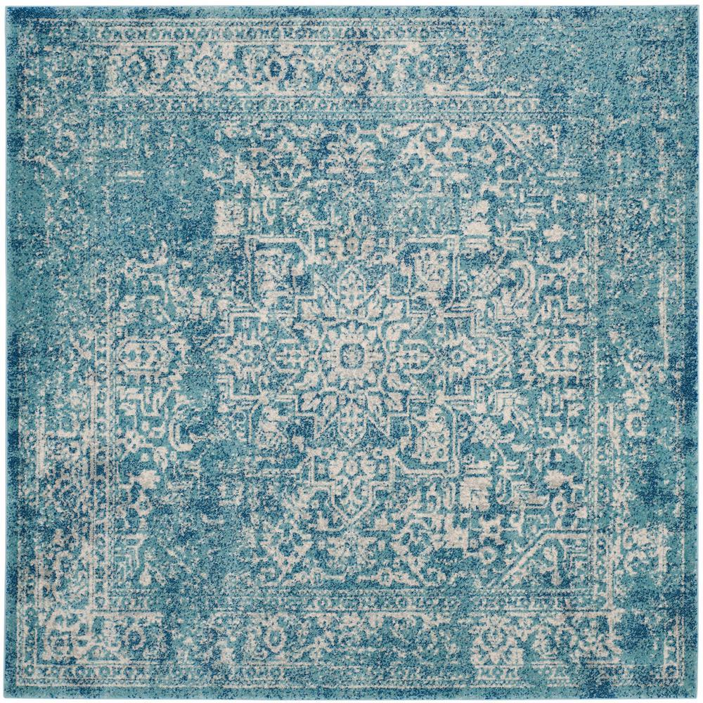 Evoke Blue/Ivory 9 ft. x 9 ft. Square Area Rug
