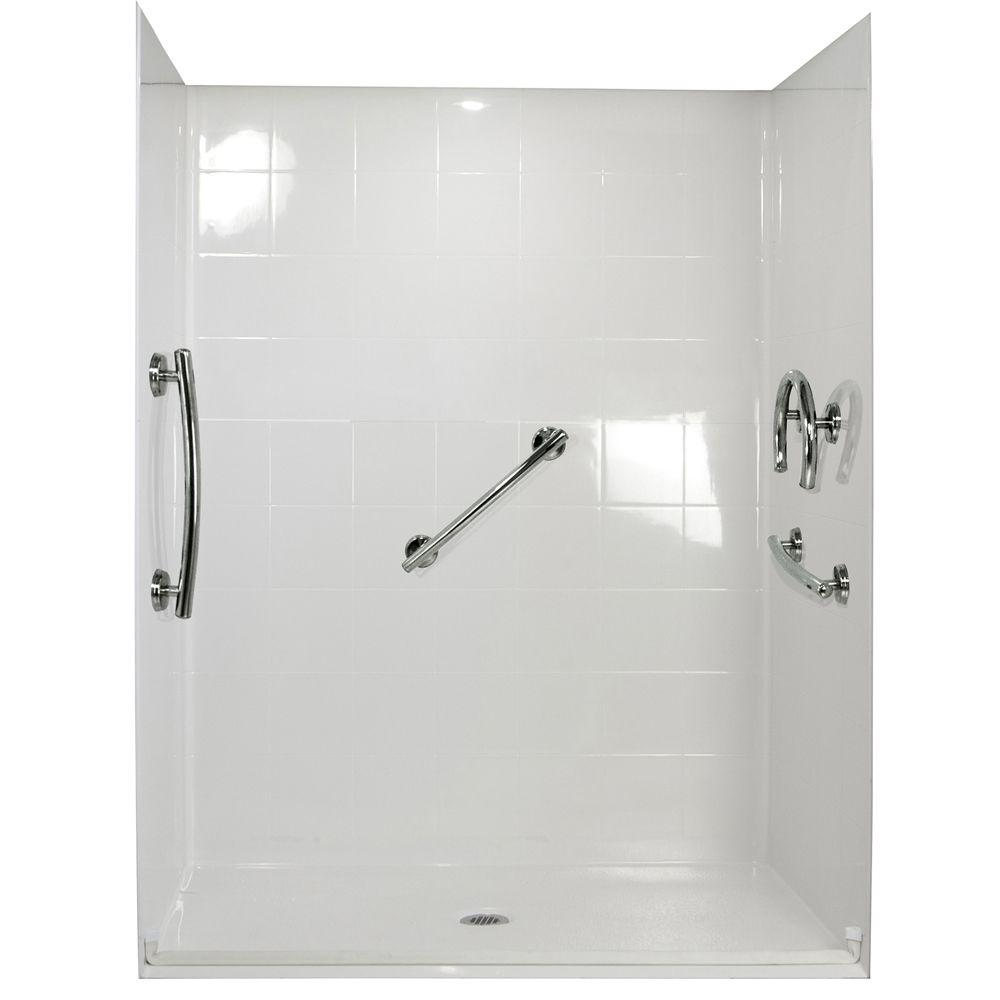 Freesia 38 in. x 38 in. x 78 in. Shower Kit in White-455020 - The ...