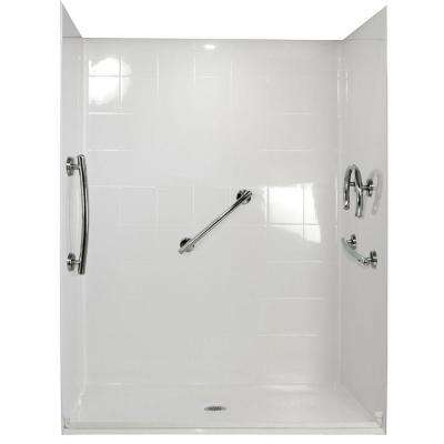 Freedom 37 in. x 60 in. x 78 in. Barrier Free Roll-In Shower Kit in White with Center Drain