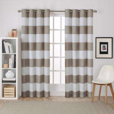 Surfside 54 in. W x 96 in. L Cotton Grommet Top Curtain Panel in Taupe (2 Panels)