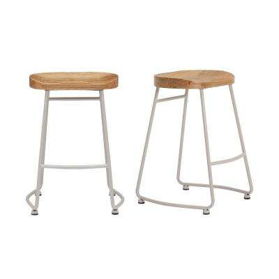 StyleWell Riverbed Brown Metal Backless Counter Stool with Wood Seat (Set of 2) (18.5 in. W x 24 in. H)