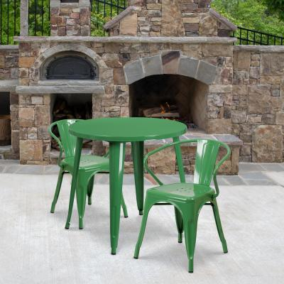 Green 3-Piece Metal Round Outdoor Bistro Set