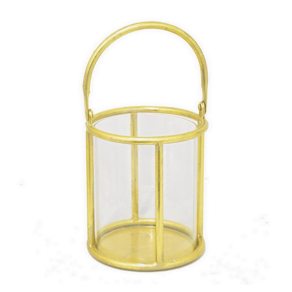 13 in. Glass Candle Holder with Gold Metal Base in Gold